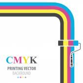CMYK vector flat  background. Paint roller. — Stock Vector