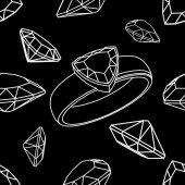 Diamond trillion ring seamless — Stock Vector