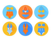 Set of the swimming suit flat icons — Stock Vector