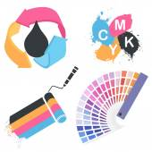 Vector print icon set — Stock Vector