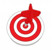 Red darts target aim. Successful shoot. — Stock Vector