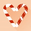 Candy cane style heart  on pink vector background — Stock Vector #73308385