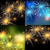 Vector fireworks backgrounds set — Cтоковый вектор