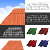 Red corrugated tile elements of roof.  — Stock Vector