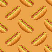 Seamless pattern with hot-dog — Stock Vector