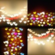 Defocused lights background with hearts set — Stockvector  #73857683