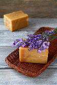 Two bars of soap and lavender — Stock Photo