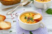 Dense soup mashed carrots — Stock Photo