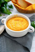 Pumpkin puree soup in a bowl — Stock Photo