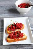 Two bruschetta on a plate — Stock Photo