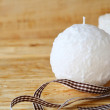 Round white Christmas candle — Stock Photo #52573335