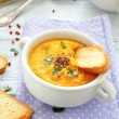 Pumpkin puree soup with croutons — Stock Photo #52729505