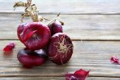 Bunch sweet red onion for salad — Stock Photo