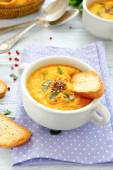 Pumpkin puree soup with croutons — Stock Photo