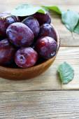 Freshly picked plums in a bowl — Stock Photo