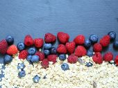 Berries and cereal healthy food — Stock Photo