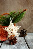 Sprigs of pine tree with a white star and two cones — Stock Photo