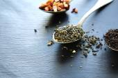 Assortment of teas on a teaspoon — Stock Photo