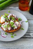 Canapes with herring and chives on a plate — Foto Stock
