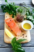 Salmon fillet with basil and pepper — Stock Photo