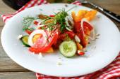 Cucumber salad with onions and peppers — Photo