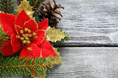 Christmas flower red with bows on a wooden board — Stock Photo