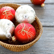 Beautiful balls in a wooden bowl. Christmas — Stock Photo #54132055
