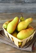 Pears in a drawer on napkin — Stock Photo