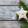 Decorative star on the boards, christmas — Stock Photo #54799369