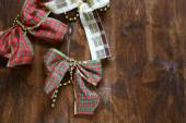 Decorative bows on the table. Christmas — Stock Photo