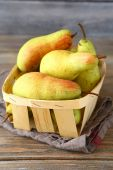 Sweet pears in a drawer — Stock Photo
