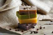 Soap with lavender, chocolate and juniper on a linen napkin — Stock Photo