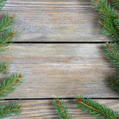 Christmas frame with pine branch on wooden boards — Stock Photo