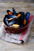 Blue mussel in shells — Stock Photo