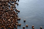 Coffee beans on a slate background — Stock Photo