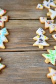 Christmas holiday cookies on wooden boards — Stock Photo