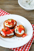 Crispy bruschetta with vegetables — Zdjęcie stockowe
