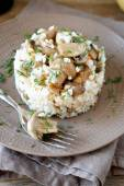 Risotto with mushrooms on a plate — Stock Photo