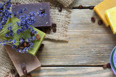 Soap different varieties of natural on napkin with a lavender — Foto Stock