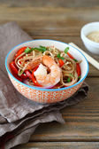 Noodles with shrimp and pepper — Stock Photo