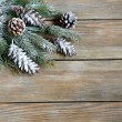 Xmas fir branch with cones on boards — Stock Photo #56477983