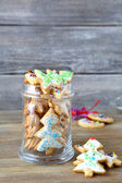 Christmas cookies with glaze in a jar — Stock Photo