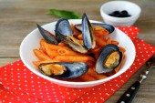Tasty pasta with mussels — Foto de Stock
