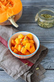 Stewed tasty pumpkin slices in a bowl — Stock Photo