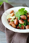 Tasty beans with onion and cilantro — Stock Photo