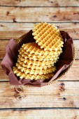 Crispy waffles at basket — Stock Photo