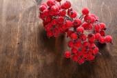 Artificial rowanberry on the table — Stock Photo