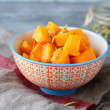 Baked pumpkin slices in a bowl — Stock Photo #61904367