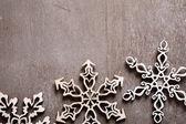 Three openwork Christmas snowflakes — Stock Photo