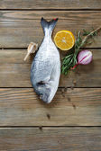 Raw gilthead with spices on the boards — Stock Photo